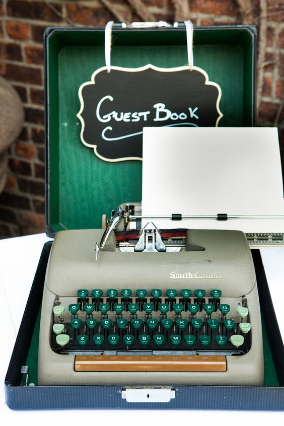 Vintage typewriters look chic at weddings, and represent the power & romance associated with the written word. How words are used in ceremonies.: