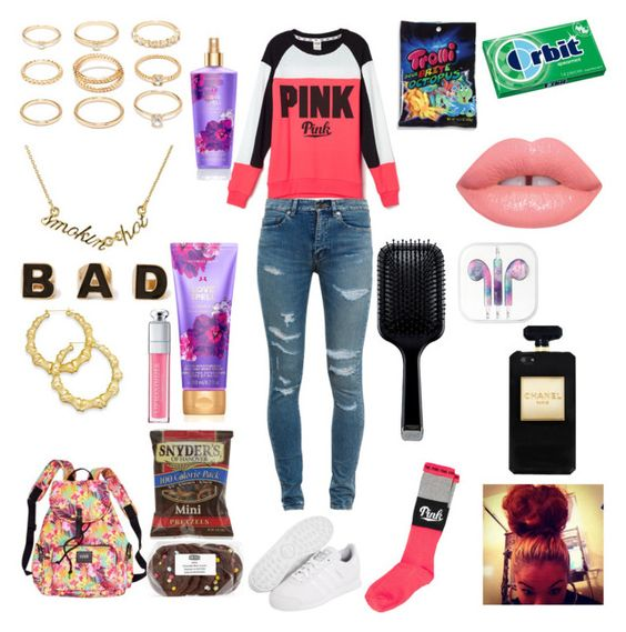 """Back to School"" by boss-fleek ❤ liked on Polyvore featuring Victoria's Secret PINK, Victoria's Secret, Yves Saint Laurent, adidas Originals, Forever 21, Kate Spade, Thalia Sodi, Christian Dior and GHD"