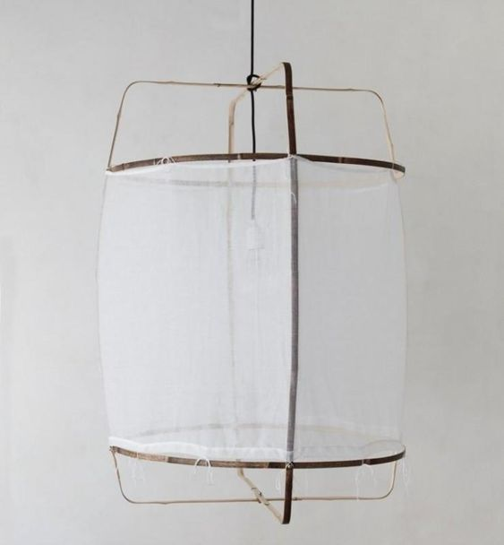 Cotton Cover Hanging Light Bamboo Lamp White Pendant Light Lamp