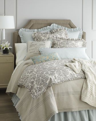 Bedroom Bedding French Laundry Home Gray Damask Bed