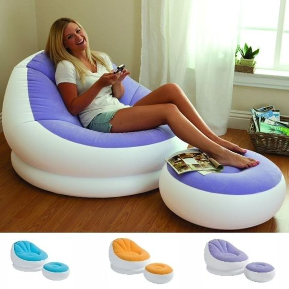 Details About Inflatable Sofa Chair Adult Bean Bag Soft Light Beanless Intex Camping Seat New