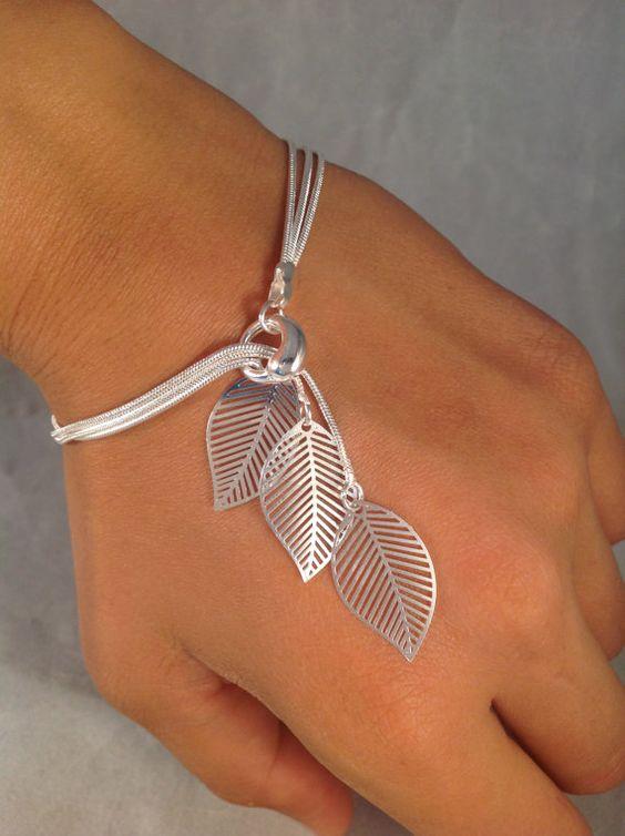 Simple filigree leaf bracelet by jochec.