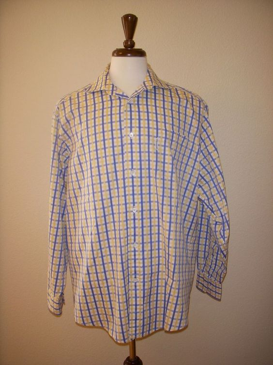FACONNABLE SHIRT Long Sleeve Plaid Check 6 / 17 L #Faonnable