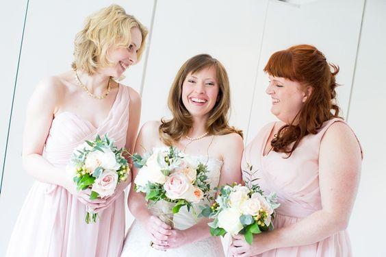 bridesmaids in blush pink / Katherine Ashdown Photography