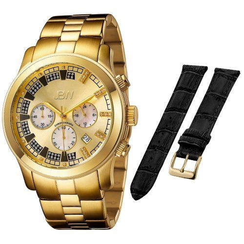 JBW Men's JB-6218-E.1bandset Delano Oversized Chronograph Extra Band Diamond Watch