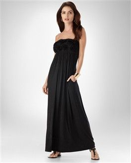 Strapless maxi with soft sheer flowers on bust. Soma Intimates. This is my favorite maxi dress in my closet : )
