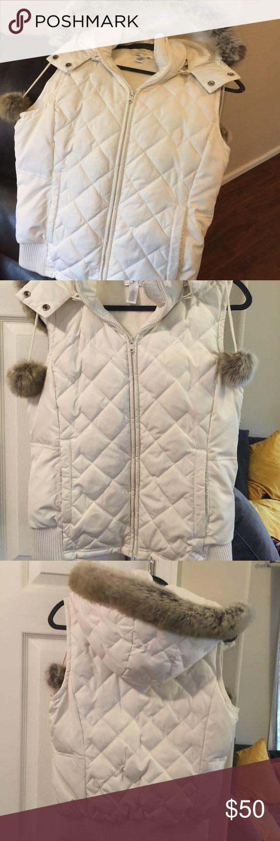 Loft faux fur hoodie vest M Cute warm vest with fur removable hood Super warm size M Great 👍 condition no stains or rips. LOFT Jackets & Coats Puffers
