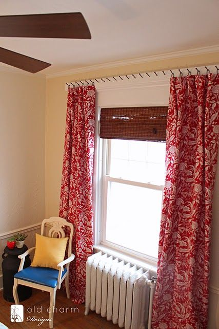 Cas creative and the o 39 jays on pinterest for Unusual ways to hang curtains