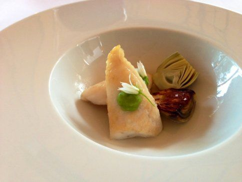 John Dory w/braised and smoked baby artichokes, green garlic and kombu broth at Madrona Manor in Healdsburg
