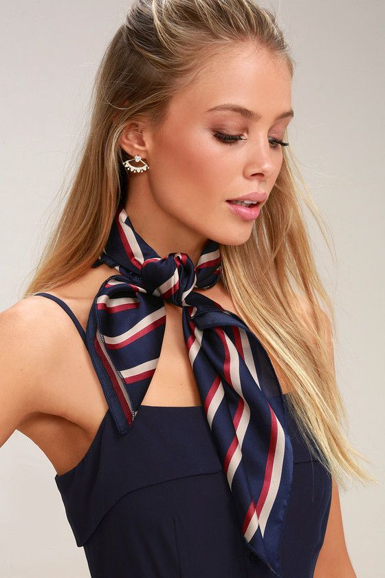Girls Trip Navy Blue Striped Satin Scarf Scarf Outfit Summer Satin Scarves Neck Scarf Outfit