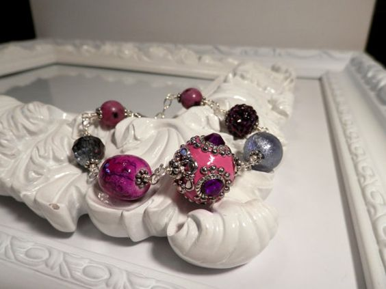 Pink and Purple Indonesian and Crystal Bead by houseofTROCK, $15.00