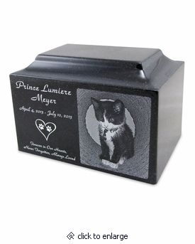 Black Granite Small Pet Cremation Urn with Engraved Photo