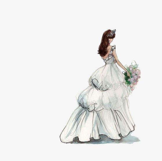 The Bride Wore A Wedding Dress Wedding Clipart Girl Bride Png