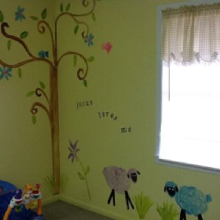 Church nursery mural favorite things pinterest for Church nursery mural