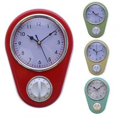 Details zu Retro Wanduhr mit Eieruhr für die Küche Küchenuhr Uhr - wanduhr für küche