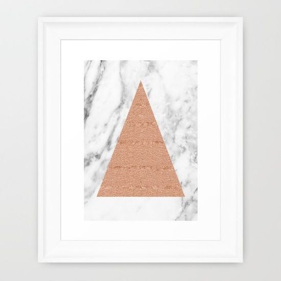 Rose gold glitter triangle over carrara marble backdrop. Art print on society6.