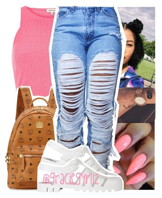 """"""""""" by graciegyrl12 ❤ liked on Polyvore featuring River Island, MCM and JuJu"""