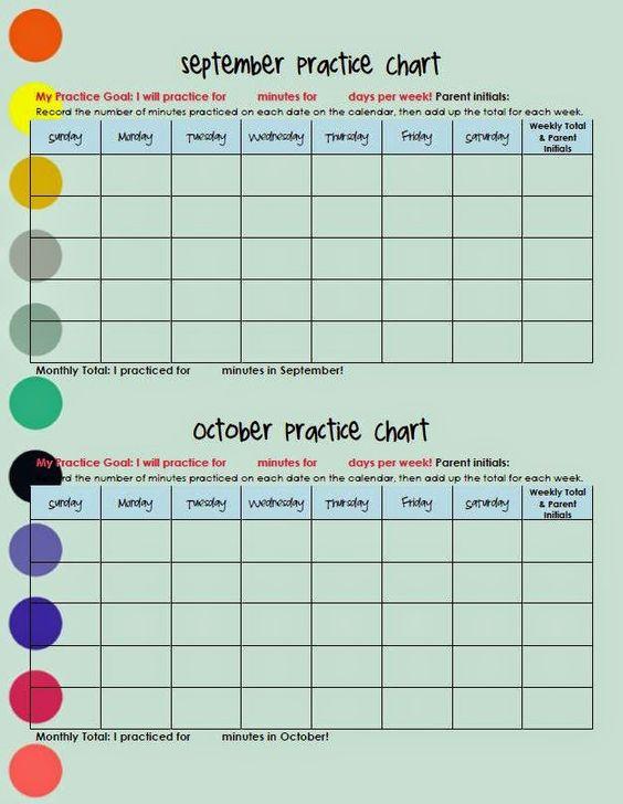 The Teaching Studio: Piano Practice Chart