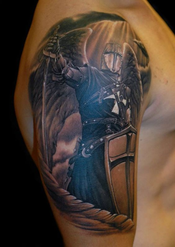 guardian angel crusader tattoo ideas pinterest