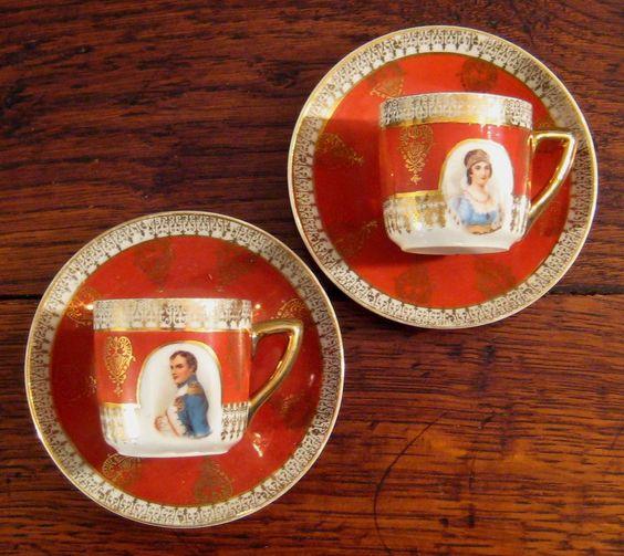 Vintage Pair Of Demitasse Cups & Saucers Of Napoleon & Josephine: Demitasse Cups, Cups Saucers, Tea Cups, Vintage Finds