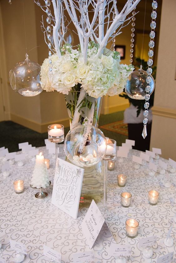 An elegant silver winter wedding romantic
