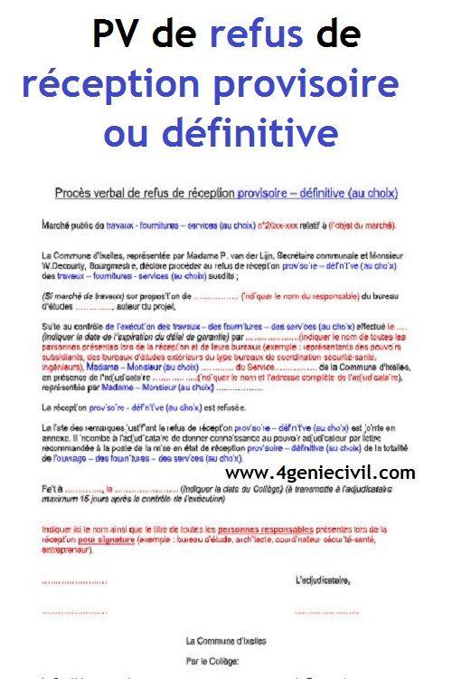 Exemple De Proces Verbal De Refus De Reception Provisoire Definitive Conducteur De Travaux Planning Chantier Modele De Rapport
