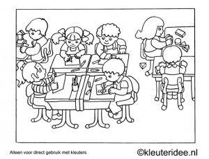 kleuring klaslokaal and kleuterschool on