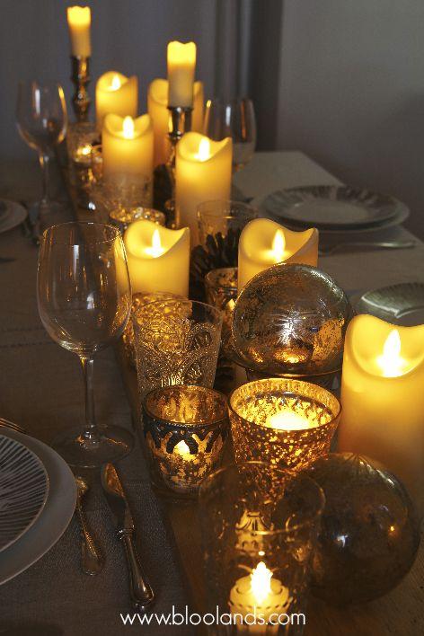 Cierges LED en cire, flamme oscillante et chauffe-plats Bloolands pour votre table de Noël.