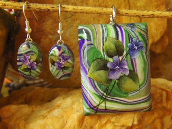 Passionate Violets Pendant and Earring Set  NEW by bonnyblueflag