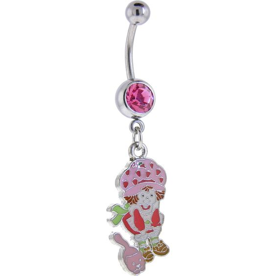 Strawberry Shortcake and CAT Passion Pink GEM Dangle Belly Ring