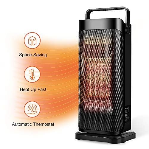 Ceramic Space Heater For Office Quiet Tower Heater Heat Up In Seconds Portable Small Personal Heater For Desk In 2020 Tower Heater Space Heater Heater Fan