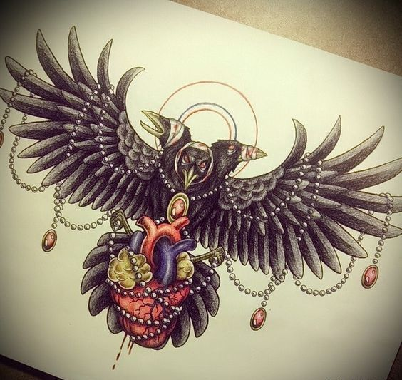 Bandaged Three Headed Raven Keeping A Colorful Human Heart Tattoo Design Crow Tattoo Design Crow Tattoo Chest Piece Tattoos