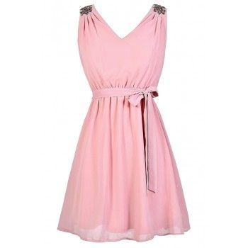 Pale Pink Dress, Pink Beaded Shoulder Dress, Embellished Shoulder Dress, Pink A-Line Party Dress, Blush Pink Chiffon Dress, Blush Pink Beaded Bridesmaid Dress, Cute Pink Summer Dress