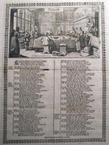 1670 Orig Antique BROADSHEET Neujahrsblatt TISCHZUCHT Gastronomy CONRAD MEYER