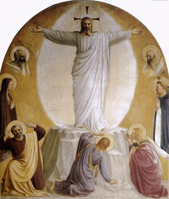 Transfiguratie, 1440-1442 - Fra Angelico Fresco 193 x 164 cm Gewaden, mantels, doeken en lappen het evangelie staat er vol van. In alle kunst die de verhalen uit het Heilige Schrift weergeven komen ze heel veel voor. Dit fragment toont ons Christus boven de berg Tabor waarin hij een gedaanteverwisseling ondergaat. De kleren worden wit van het witste wit.  Dit is een fresco. Fresco's worden aangebracht op een kalklaag en hebben daardoor geen transparantie of glans. Ze zijn mat en dof.