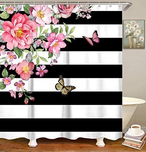 Livilan Black And White Stripes Modern Pink Flower Floral Shower Curtain In 2020 Floral Shower Curtains Flower Shower Curtain Butterfly Shower Curtain
