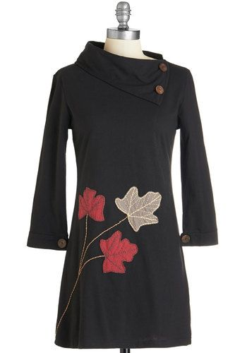 Fond Fall Memories Tunic. No matter the season, relive a rollick through the leaves in this fabulous black tunic from Synergy. #gold #prom #modcloth
