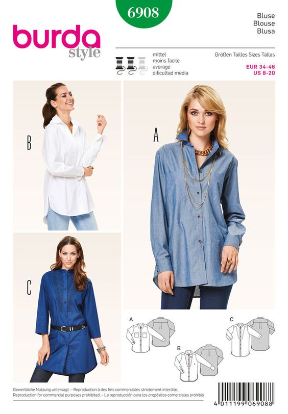 either casual or classic , in the style of a men's shirt or adorned variation   with a set-in front plastron from lace fabric – these different variants of long blouses can perfectly be combined at   will.