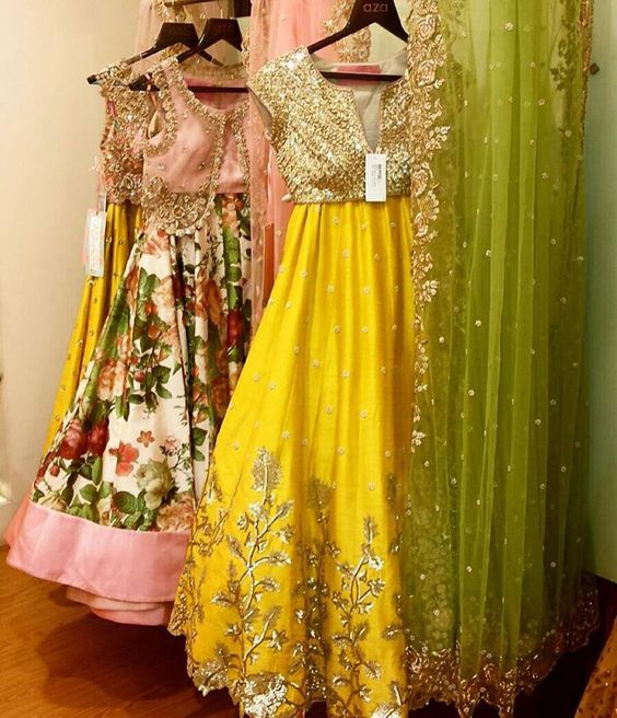 Yellow silk lehenga