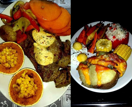 Dinners with sweet potato, gem squash, steak, flavoured butter, stuffed pepper and roasted veg