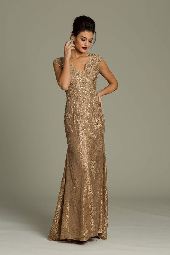 Mother of the Bride Dress - Jovani long lace gown - Gold Wedding ...