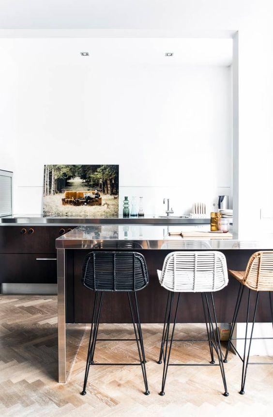 HK-living Barkruk naturel honing rotan 88x47x46cm rotan bar stoel - wonenmetlef.nl