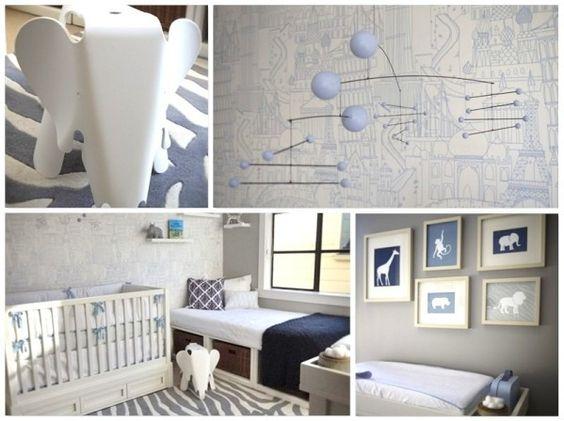 Quarto de bebê azul e branco tema safári Quartos, Safari  ~ Quarto Safari Cinza