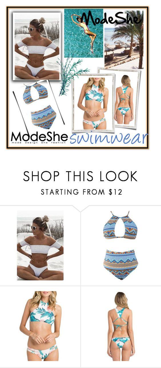 """ModeShe-swimwear"" by senseofstyle1 ❤ liked on Polyvore featuring swimwear and modeshe"