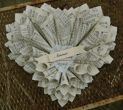 Heart made with music sheets: Valentine Crafts, Book Ish Crafts, Treasures Happy, Happy Valentine S, Craft Wreaths, Saltbox Treasures, Papercraft Paperhome, Music Sheet