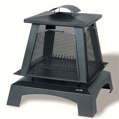Char-Broil Trentino Fireplace Steel Porc.  Steel construction with protective porcelain finish provides superior outdoor protection. Traditional styling complements any outdoor decor. Fire access screens remove to easily tend fire. #firepit #firepits #patio #backyard #fireplace #outdoorfireplace