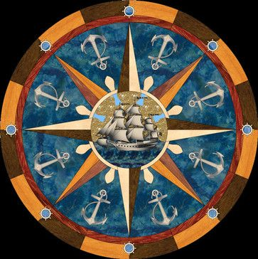 Directional compass rose wood inlay wood floor inlaid for Wood floor medallion designs