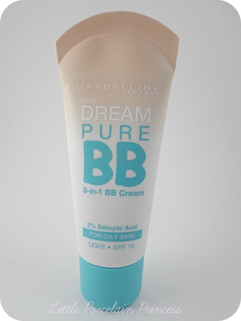 Maybelline Dream Pure BB Cream - oily skin version. Gives nice, light coverage and the 'light' shade works well with my pale skin :)
