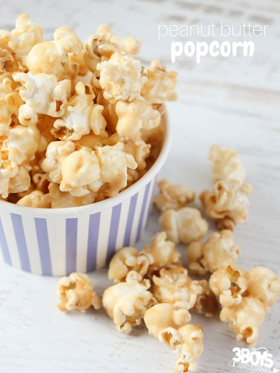 An easy & delicious recipe for peanut butter popcorn - a sweet & crunchy treat perfect for entertaining!
