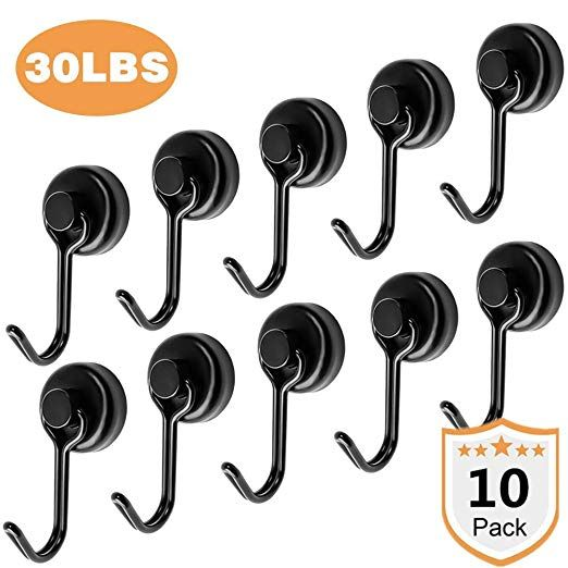 Office 30LBS Premium Magnetic Hooks Extra 10 Eyebolt Hooks Heavy Duty Magnetic Hooks for Cruise Cabins Classroom Home Locker